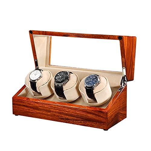 XYSQ Watch Winder Box Caja De Relojes Autornaticos con Motor Silencioso 5 Modos Diferentes Rotación Gira Ambas Direcciones (Color : Yellow, Size : 3+0)
