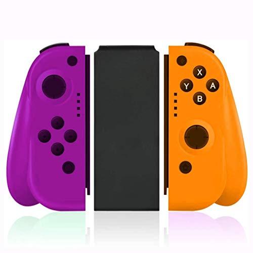 SLSMD sans Fil Contrôleur Bluetooth Gamepad Joystick Joy Cone Switch, Manette de Jeu sans Fil Bluetooth (Verte/Rouge), Gyroscope à 6 Axes, en Remplacement du contrôleur Joy-Con,Purple Yellow