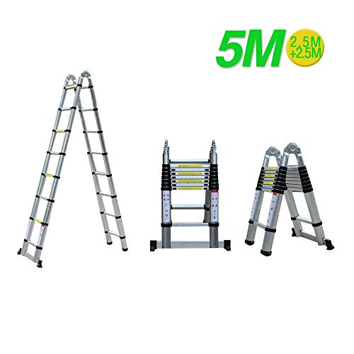 Vouwladder Telescopische 5M Aluminium Ladder Intrekbare Ladder Multifunctionele Ladder Aluminium Ladder 150kg Draagvermogen