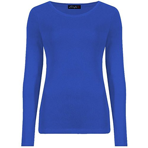 Générique Neuf Femmes Ras DE Cou Simple UNI Manches Longues T-Shirt Haut 15 Couleurs Grande Taille UK 8-24 - Bleu Roi, 46