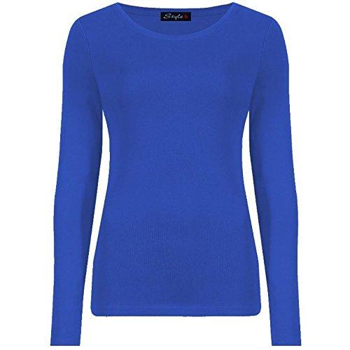 Générique Neuf Femmes Ras DE Cou Simple UNI Manches Longues T-Shirt Haut 15 Couleurs Grande Taille UK 8-24 - Bleu Roi, 36