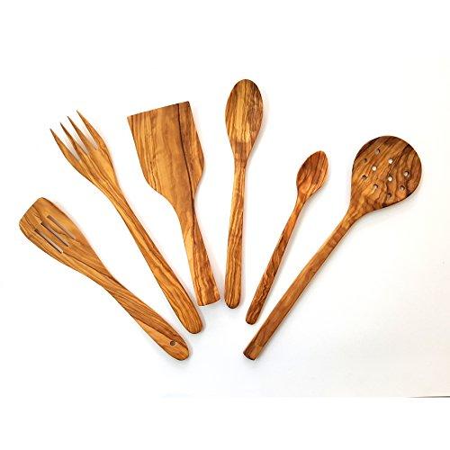 Juego de Utensilios Cocina artesanales Fabricados con Madera de Olivo 6 Piezas