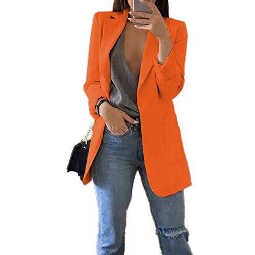 WHBDFY Merk Mode Slanke Blazers Vrouwen Herfst Pak Jas Vrouwelijke Werk Office Lady Pak Pocket Zakelijke Notched Blazer Jas Plus Grootte 5xl 5XL Oranje