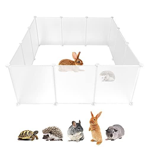 Guinea Pig Plastic Playpen, Small Animal Crate Fence Tent, Bunny Yard Fence Cage, DIY Modular Outdoor & Indoor Metal Enclosure for Hamster, Hedgehog, Ferret, Turtle (12 Panels)