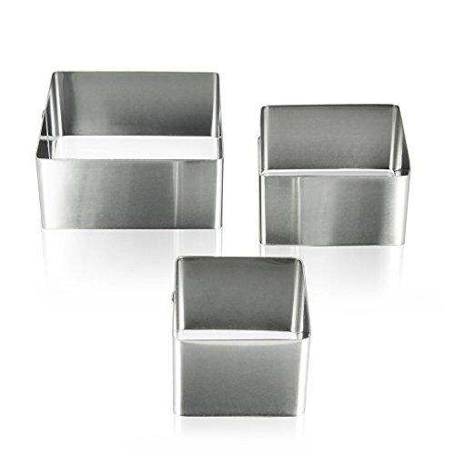 Metaltex Juego 3 MOLDES Cuadrados para EMPLATAR Ø6-8-10x4,5 CMS, Acero Inoxidable, Estandar