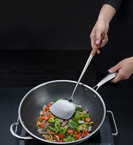 """Wok espátula y cucharón, Skimmer Cucharón Herramienta Set de 17"""" espátula para wok, 304 de acero inoxidable wok."""