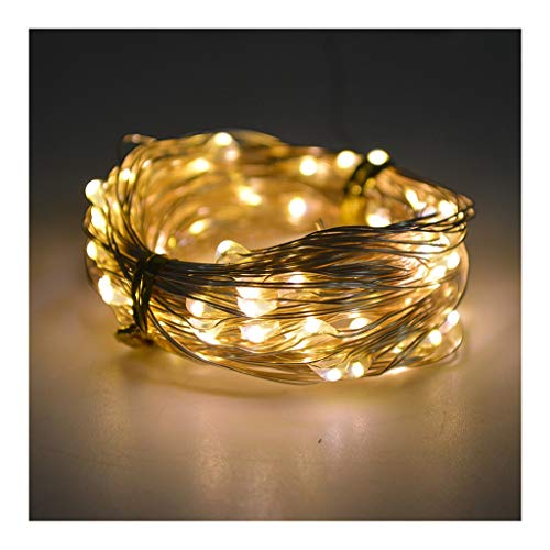 LED Solar String Lights Outdoor 2 Modes Wire Starry Fairy Lights,Lights for Bedroom, Christmas, Parties Decoration (Color : Warm)