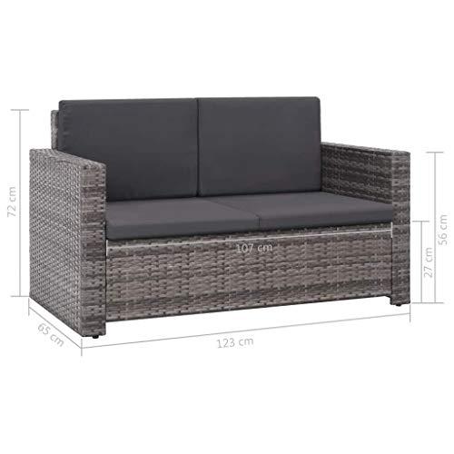 Festnight Gartensofa-Set 7-TLG. | Rattan-Lounge | 2er-Loungesofa | Polyrattan Gartenmöbel | Gartenset Sofa Garnitur | 2 Sitzer Sofa & Fußhocker | Gartengarnitur | Grau Poly Rattan - 8