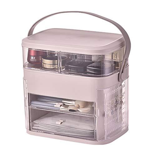 Maquillaje Joyero Organizador Niña,acrílico Sostenible Portable Organizador Joyas Estante De Maquillaje Ideal Para Anillos Aretes Cosméticos Almacenamiento De Pantalla Rosa 30x29.5x21cm(12x12x8inch)