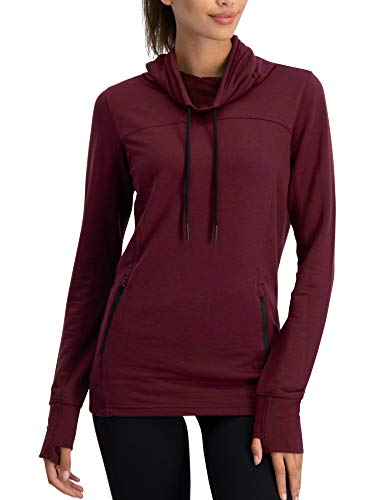 Three Sixty Six Dry Fit Pullover Sweatshirt for Women – Fleece Cowl Neck Sweater Jacket - Zip Pockets and Thumbholes Maroon