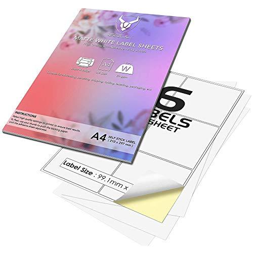 6 Etiketten Per A4 Blatt, iSOUL Selbstklebend, Bedruckbar, Permanent Haftende Adressaufkleber, 300 Etiketten auf 50 Blatt, QuickDRY Quality White Matte A4 Label