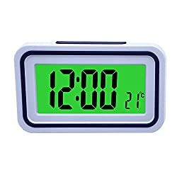 Spanish Talking LCD Digital Alarm Clock with Thermometer, Back lit, for Blind or Low Vision, 4 colors (White and Purple)