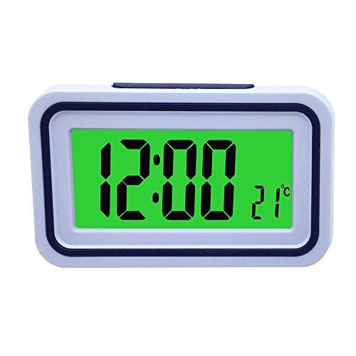 VSONE Reloj Despertador Parlante en Español, Alarma LCD con Voz, Reloj Hablando (Blanco y Morado)