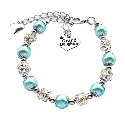 DOLON Blue Glass Pearl Color Crystal Granddaugther Bracelet Jewelry Wedding Bridal Birthday Christmas Holiday Gift