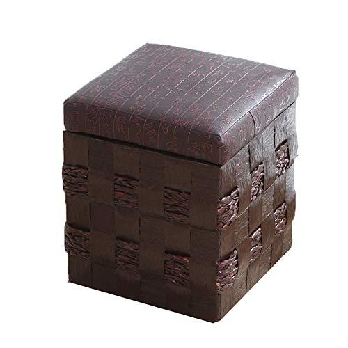 FSYGZJ Cajas de Almacenamiento Otomano Adultos Tejido de Hierba Taburete para pies Descanso Taburetes Pufs Taburetes multifunción Silla para Sala de Estar Dormitorio
