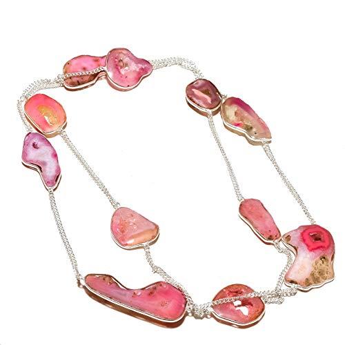 Shivi Rosa Solar DRUZY ¡Ropa exótica Collar de Cadena Larga 34-36'de Largo, Extra Largo, Hecho A Mano. Chapado en Plata de Ley, joyería, Collar Extra Grande