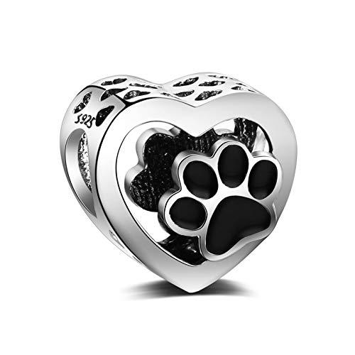 LaMeanrs Damen Charm-Anhänger mit Hundepfötchen Herzform 925 Sterling Silber Passend für Pandora Chamilia Europäische Charm-Armbänder Halsketten (Pfotenabdruck-Herz)