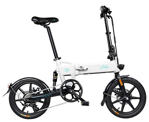 FIIDO D2S E-Bike Pneumatici da 16 Pollici Bici Elettrica Pieghevole Motore 250W Watt 6 velocità Bici Elettrica per Pendolarismo per Adulti (Bianco)