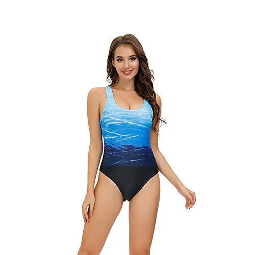 Sweetneed Donna Costumi Piscina Costume Intero Sexy Colore Sfumato Attraversare Sottile Fit Corpo Forma Un Pezzo da Bagno Speciali (XL(12-14), Blue)