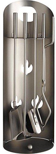 PEGANE Serviteur de cheminée en métal + 4 Accessoires, 27 x 17 x 70 cm