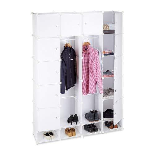 Relaxdays Kleiderschrank Stecksystem multifunktional, 18 Fächer, großer Kunststoff Garderobenschrank 145 x 200 cm, weiß