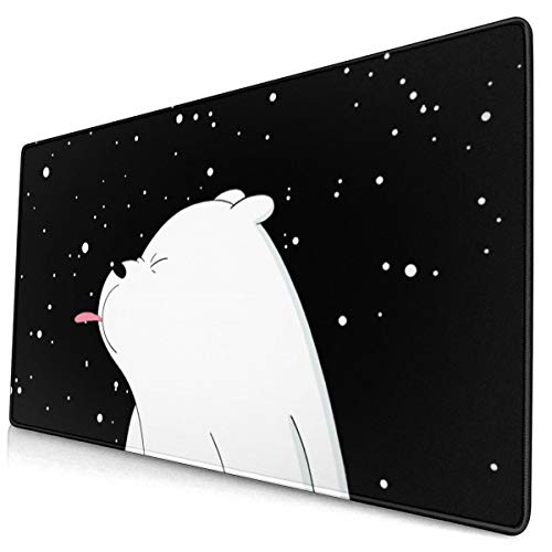 Guo Jiajun We Bare Bears Mouse Pad 15.8x29.5 in Durable Stitched Edges, Non-Slip Rubber Base, Water-Resistant Computer Keyboard Mouse Mat Mousepad for Office/Gaming/Home