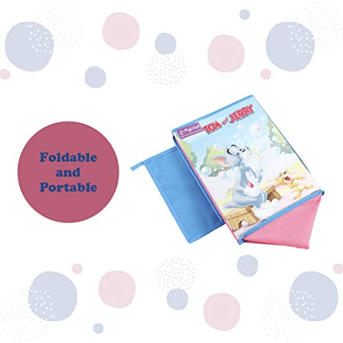 PrettyKrafts Tom and Jerry Kid's Fabric Toys Organizer with Top Lid (Purple, Big) Set of 2 Pieces