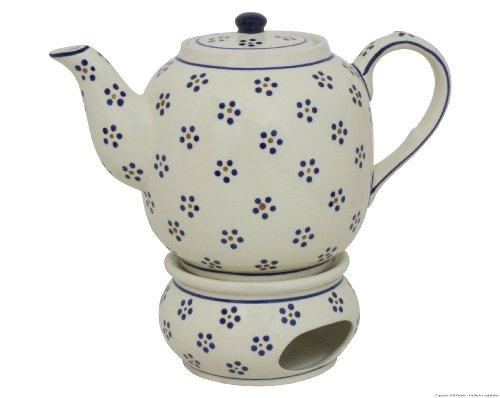 Original Bunzlauer Keramik Teekanne mit Stövchen 1.50 Liter im Dekor 1