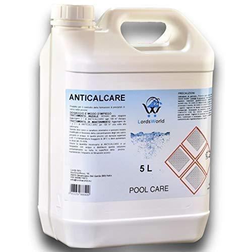 LordsWorld Pool Care - 5Lt antical líquido previene la formación Cal - clarificadores y enzimas - Detener la calcificación - Tratamiento Mantenimiento Y De La Piscina - antical-5LT