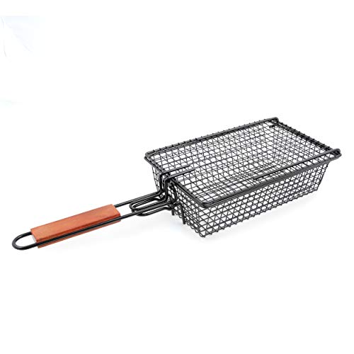 Yukon Glory Premium Grilling Basket, Designed Grill Vegetables, Seafood, Poultry and Meats, Unique Locking Mechanism to Easily Flip Food, Foldable Handle for Compact Storage