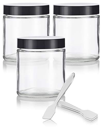 Clear Thick Glass Straight Sided Jar - 4 oz / 120 ml (3 Pack) + Spatulas