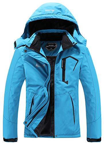 MOERDENG Chaqueta de esquí impermeable para mujer cálida de invierno para nieve chaqueta de montaña cortavientos con capucha impermeable para snowboard - gris - XXL