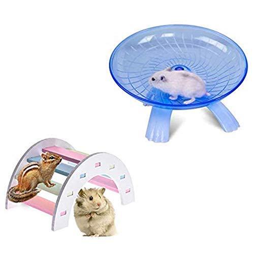 Juego de 2 platillos voladores para ratas y puente de madera, arco iris, plástico ABS duradero para correr y trotar, silencioso, para ratón, erizo, chinchilla, mascotas, ratones, hámsteres, juguete