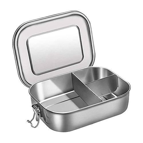LHK Auslaufsichere Bento-Brotdose, Metall-Snackbehälter, 3-Fach-Lebensmittel-Aufbewahrungs-Brotdose aus Edelstahl mit Verschlussklammern, für Nüsse Fleisch-Käse-Salat-Frucht