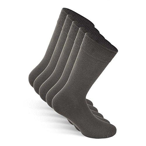 Snocks ® Herren Business Socken Lange Haltbarkeit Dank Bester Qualität (Ohne Fusseln), 03 Grau (5x Paar), 43 - 46