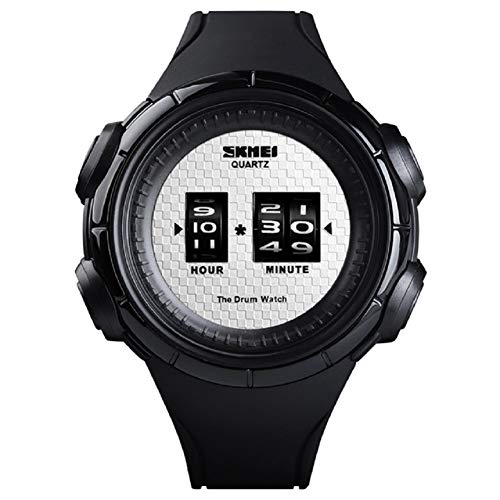 V.JUST 2 Stücke Mode Outdoor Sportuhr Männer Quarz Armbanduhren 50 Mt wasserdichte Digitalanzeige Männer Uhren,A