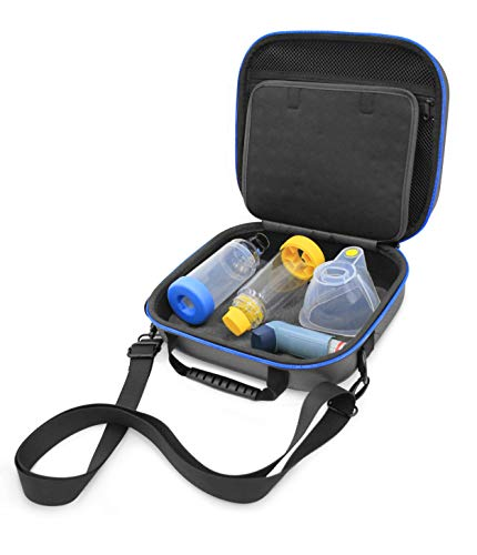 CASEMATIX Asthma Inhaler & Essential Carrying Case for Adult and Child - Protective Travel Bag for Handheld Asthma Nebulizer Machine, Asthma Mask, Asthma Spacer, Asthma Medicine & More - CASE ONLY