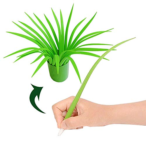 Youdepot Green Leaf Like Grass-Blade Silicone Pens Neutral Pen With Cover and Pen Holder, Easy Flow...