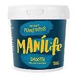 ManiLife Mantequilla de Cacahuete - Peanut Butter - Natural, de Origen único, sin Aditivos, sin Azúcar Añadida, sin Aceite de Palma - Cremoso Tostado Original - (1 x 1kg)