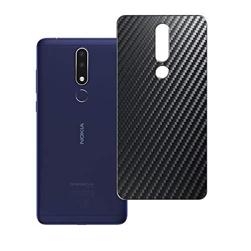 Vaxson 2-Pack Pellicola Protettiva Posteriore, compatibile con Nokia 3.1 Plus, Back Film Protector Skin Cover [ Non Vetro Temperato ] - Fibra di Carbonio Nera