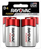 Rayovac Fusion D Batteries, Premium Alkaline D Cell Batteries (4 Battery Count)