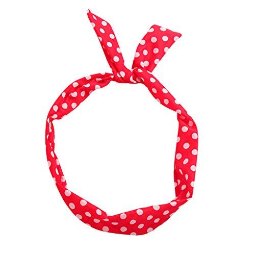 YWLINK Draht-Haarband Klassisch Einfach Stirnband Polka Dot Retro 1950 Frauen Baumwolle Gestrickte Verdrehte Weiche Turban-Kopf-Verpackungs(A Rot)