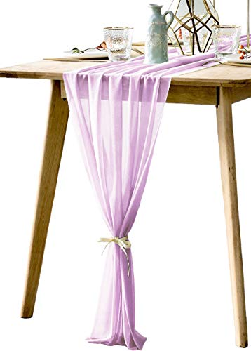 BOXAN Rustic 30x120 Inch Light Purple Sheer Table Runner for Boho Lavender Wedding Party Decor,Romantic Bridal & Baby Shower Lilac Reception Table Linen Scarf Swags Birthday Party Supplies Decorations