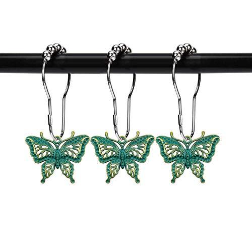 ZILucky Set von 12 Schmetterlings-Dekorative Duschvorhang-Haken Garten Natur Insekten Stil Thema Home Duschvorhang Ringe Dekor Zubehör Badezimmer rostfrei (Patina)