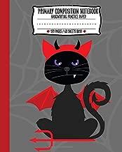 Primary Composition Notebook: Spooky Halloween Devil Cat Handwriting Practice Paper