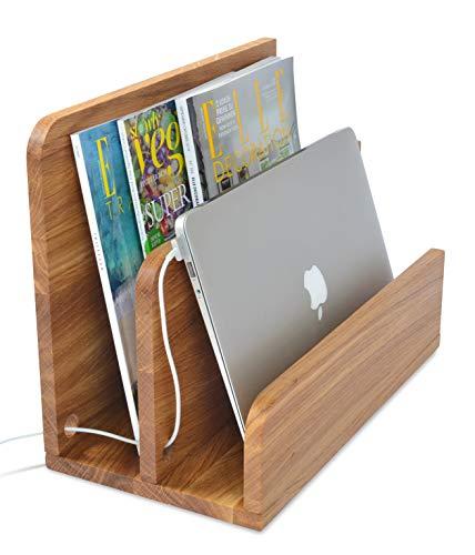 Natuhr Zeitungsständer Tidy Holz Zeitungshalter Ladestation für Handys, Tablets & Co (Eiche geölt)