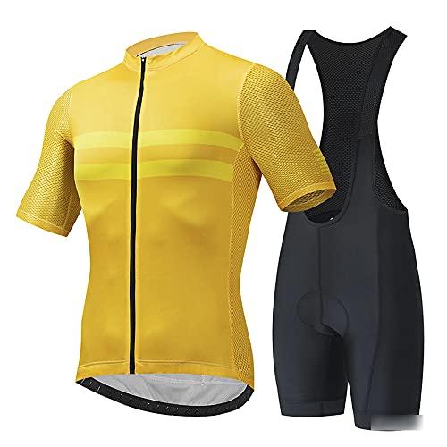 Ciclismo Jersey Team Ciclismo Ropa Jersey Bib Shorts Kit Camisa de Secado rápido Ropa al Aire Libre de la Bicicleta(Size:6X-Large,Color:Amarillo)