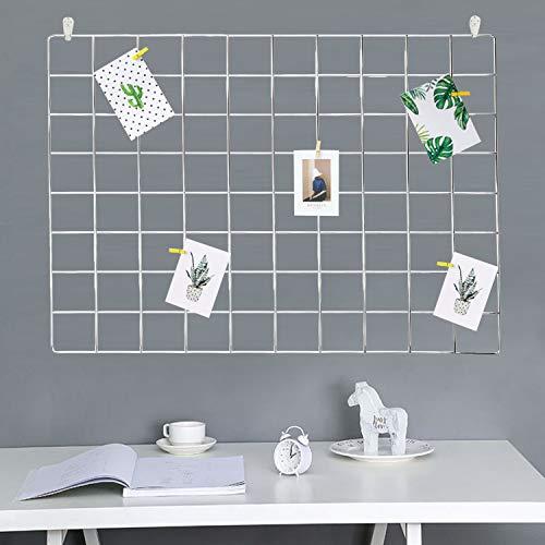 GBYAN 2 Stück Wandgitter Regal Eisen Gitter Pinnwand DIY Fotowand Dekoration für Fotocollage und Postkarte, 65x45cm (Silber)