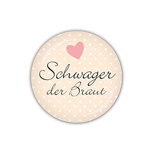 lijelove® Button 38mm Ø I DO Schwager der Braut, apricot (Art. BU38-317)