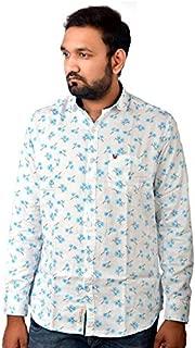 Darien Range White Flower Printed 100% Cotton Slim Fit Casual Shirt